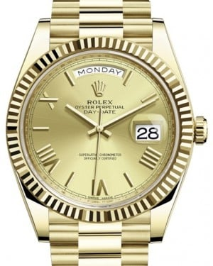 Rolex Day-Date 40 Yellow Gold Champagne Roman Dial & Fluted Bezel President Bracelet 228238 - BRAND NEW