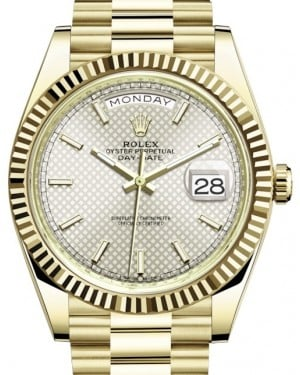 Rolex Day-Date 40 Yellow Gold Silver Diagonal Motif Index Dial & Fluted Bezel President Bracelet 228238 - BRAND NEW