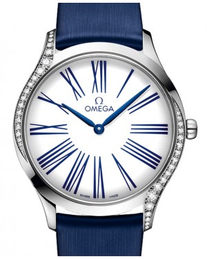 Omega De Ville Tresor Quartz 428.17.36.60.04.001 White Roman Diamond Bezel Stainless Steel Fabric 36mm - BRAND NEW