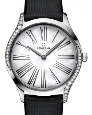 Omega De Ville Tresor Quartz 428.17.36.60.05.001 White Roman Diamond Bezel Stainless Steel Fabric 36mm - BRAND NEW