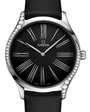 Omega De Ville Tresor Quartz 428.17.39.60.01.001 Black Roman Diamond Bezel Stainless Steel Fabric 39mm - BRAND NEW