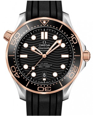 Omega Seamaster Diver 300M Co-Axial Master Chronometer 210.22.42.20.01.002 Black Sedna Gold Stainless Steel Rubber 42mm - BRAND NEW