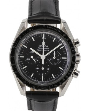 Omega 311.33.42.30.01.001 Speedmaster Moonwatch Professional 42mm Black Index Stainless Steel Leather PRE-OWNED