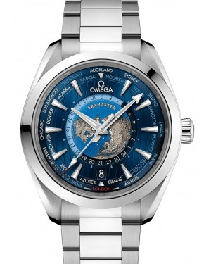 Omega Seamaster Aqua Terra 150M Co‑Axial Master Chronometer GMT Worldtimer Stainless Steel Blue Dial & Bezel Steel Bracelet 43mm 220.10.43.22.03.001 - BRAND NEW
