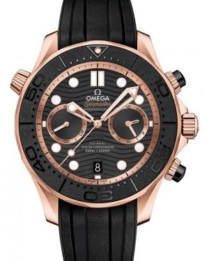 Omega Seamaster Diver 300M Co‑Axial Master Chronometer Chronograph Sedna™ Gold Black Dial & Ceramic Bezel Rubber Strap 44mm 210.62.44.51.01.001 - BRAND NEW