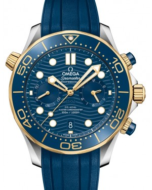 Omega Seamaster Diver 300M Co‑Axial Master Chronometer Chronograph Stainless Steel/Yellow Gold Blue Dial & Ceramic Bezel Rubber Strap 44mm 210.22.44.51.03.001 - BRAND NEW