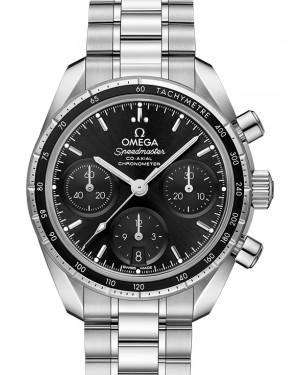 Omega Speedmaster 38 Co‑Axial Chronograph Stainless Steel Black Dial & Bezel Steel Bracelet 38mm 324.30.38.50.01.001 - BRAND NEW
