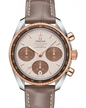 Omega Speedmaster 38 Co‑Axial Chronograph Stainless Steel Brown Dial & Gold Bezel Leather Strap 38mm 324.23.38.50.02.002 - BRAND NEW