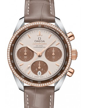 Omega Speedmaster 38 Co‑Axial Chronograph Stainless Steel Brown Dial & Gold Diamond Bezel Leather Strap 38mm 324.28.38.50.02.002 - BRAND NEW