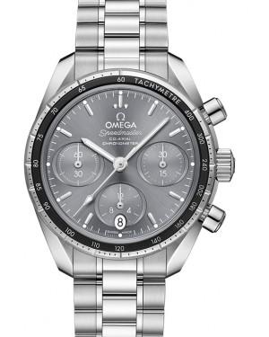 Omega Speedmaster 38 Co‑Axial Chronograph Stainless Steel Grey Dial Aluminium Bezel & Steel Bracelet 38mm 324.30.38.50.06.001 - BRAND NEW