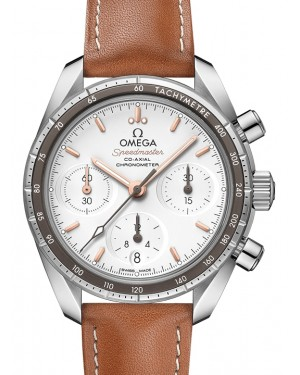 Omega Speedmaster 38 Co‑Axial Chronograph Stainless Steel Silver Dial & Aluminium Bezel & Leather Strap 38mm 324.32.38.50.02.001 - BRAND NEW