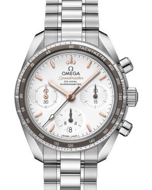 Omega Speedmaster 38 Co‑Axial Chronograph Stainless Steel Silver Dial Aluminium Bezel & Steel Bracelet 38mm 324.30.38.50.02.001 - BRAND NEW