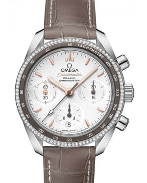 Omega Speedmaster 38 Co‑Axial Chronograph Stainless Steel Silver Dial & Diamond Bezel Leather Strap 38mm 324.38.38.50.02.001 - BRAND NEW