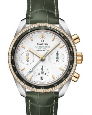 Omega Speedmaster 38 Co‑Axial Chronograph Stainless Steel Silver Dial & Gold Diamond Bezel Leather Strap 38mm 324.28.38.50.02.001 - BRAND NEW