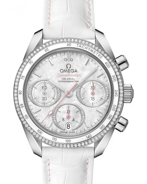 Omega Speedmaster 38 Co‑Axial Chronograph Stainless Steel White Mother Of Pearl Dial & Diamond Bezel Leather Strap 38mm 324.38.38.50.55.001 - BRAND NEW