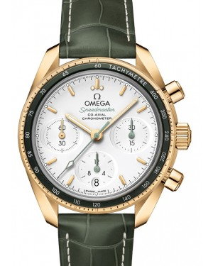 Omega Speedmaster 38 Co‑Axial Chronograph Yellow Gold Silver Dial & Aluminium Bezel Leather Strap 38mm 324.63.38.50.02.004 - BRAND NEW