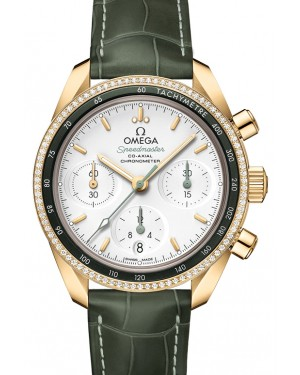 Omega Speedmaster 38 Co‑Axial Chronograph Yellow Gold Silver Dial & Diamond Bezel Leather Strap 38mm 324.68.38.50.02.004 - BRAND NEW