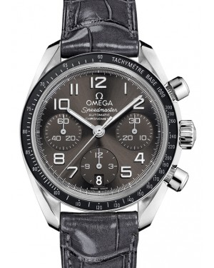 Omega Speedmaster Chronograph Stainless Steel Grey Dial & Ceramic Bezel Leather Strap 38mm 324.33.38.40.06.001 - BRAND NEW