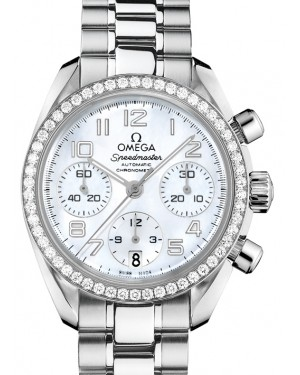 Omega Speedmaster Chronograph Stainless Steel White Mother Of Pearl Dial & Diamond Bezel Steel Braceket 38mm 324.15.38.40.05.001 - BRAND NEW