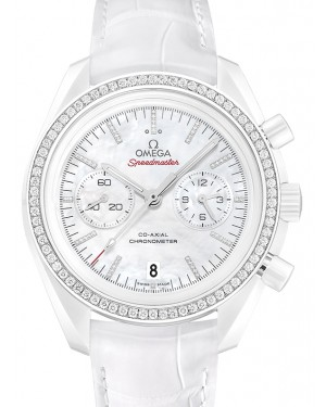 Omega Speedmaster Moonwatch Co-Axial Chronograph Ceramic White Mother Of Pearl Diamond Dial & Bezel Leather Strap 44.25mm 311.98.44.51.55.001 - BRAND NEW