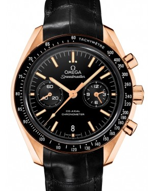 Omega Speedmaster Moonwatch Co-Axial Chronograph Orange Gold Black Dial & Ceramic Bezel Leather Strap 44.25mm 311.63.44.51.01.001 - BRAND NEW