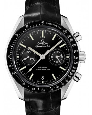 Omega Speedmaster Moonwatch Co-Axial Chronograph  Platinum Black Dial & Ceramic Bezel Leather Strap 44.25mm 311.93.44.51.01.002 - BRAND NEW