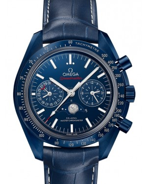 Omega Speedmaster Moonwatch Co‑Axial Master Chronometer Moonphase Chronograph Ceramic Blue Dial & Ceramic Bezel Leather Strap 44.25mm 304.93.44.52.03.001 - BRAND NEW