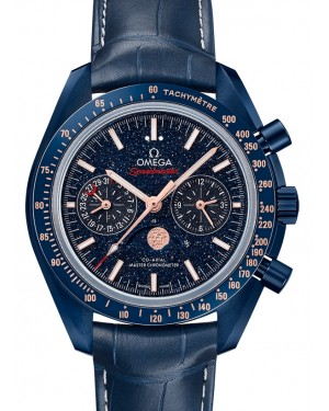Omega Speedmaster Moonwatch Co‑Axial Master Chronometer Moonphase Chronograph Ceramic Blue Dial & Ceramic Bezel Leather Strap 44.25mm 304.93.44.52.03.002 - BRAND NEW