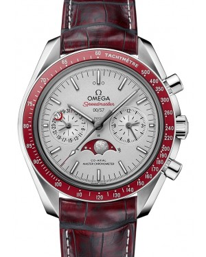 Omega Speedmaster Moonwatch Co‑Axial Master Chronometer Moonphase Chronograph Platinum Grey Dial & Alumina Bezel Leather Strap 44.25mm 304.93.44.52.99.001 - BRAND NEW