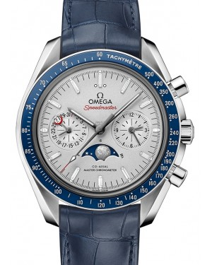 Omega Speedmaster Moonwatch Co‑Axial Master Chronometer Moonphase Chronograph Platinum Grey Dial & Ceramic Bezel Leather Strap 44.25mm 304.93.44.52.99.004 - BRAND NEW