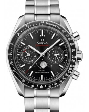 Omega Speedmaster Moonwatch Co‑Axial Master Chronometer Moonphase Chronograph Stainless Steel Black Dial & Ceramic Bezel Stainless Steel Bracelet 304.30.44.52.01.001 - BRAND NEW