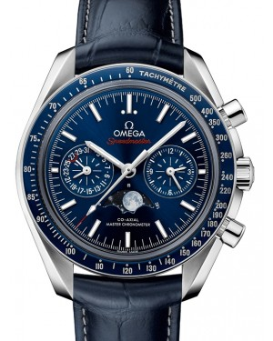 Omega Speedmaster Moonwatch Co‑Axial Master Chronometer Moonphase Chronograph Steel Blue Dial & Ceramic Bezel Leather Strap 44.25mm 304.33.44.52.03.001 - BRAND NEW