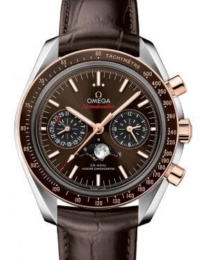 Omega Speedmaster Moonwatch Co‑Axial Master Chronometer Moonphase Chronograph Steel/Gold Brown Dial & Ceramic Bezel Leather Strap 304.23.44.52.13.001 - BRAND NEW
