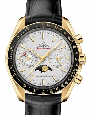 Omega Speedmaster Moonwatch Co‑Axial Master Chronometer Moonphase Chronograph Yellow Gold Silver Dial & Ceramic Bezel Leather Strap 304.63.44.52.02.001 - BRAND NEW