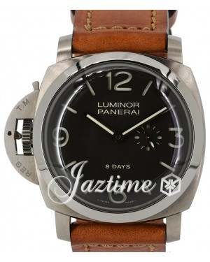 Panerai Luminor 1950 Pam 368 Black Dial Titanium Bezel Brown Leather Strap Left-Handed 8-days Destro - PRE-OWNED