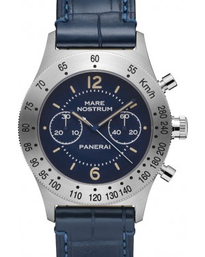 Panerai PAM 716 Mare Nostrum Acciaio Blue Arabic / Index Stainless Steel Leather 42mm BRAND NEW