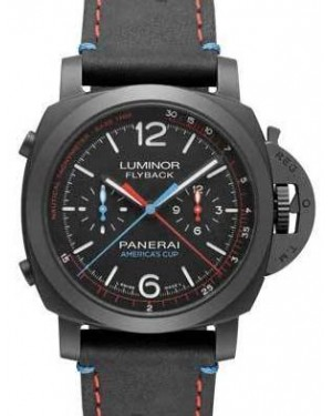 Panerai PAM 725 Luminor 1950 Oracle Team Usa 3 Days Chrono Flyback Automatic Ceramica Black / Red / Blue Arabic / Index Black Ceramic Leather 44mm BRAND NEW