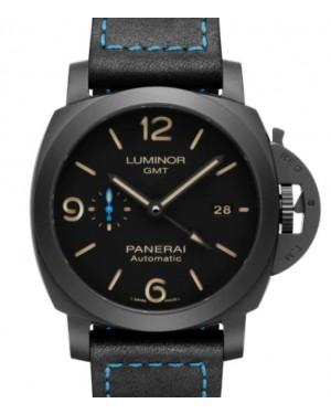 Panerai Luminor GMT Black Ceramic 44mm Black Dial Leather Strap PAM01441 - BRAND NEW