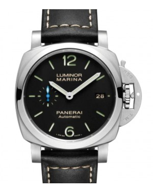 Panerai Luminor Marina Stainless Steel 42mm Black Dial Leather Strap PAM02392 - BRAND NEW