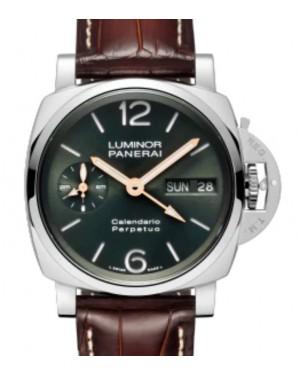 Panerai Luminor Perpetual Calendar Platinumtech™ Platinum 44mm Green Dial Alligator Leather Strap PAM00715 - BRAND NEW