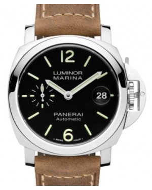 Panerai PAM 1048 Luminor Stainless Steel Black Arabic / Index Dial & Smooth Leather Bracelet 40mm - BRAND NEW