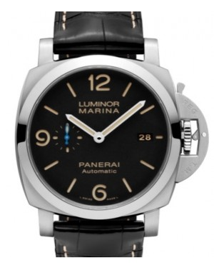 Panerai PAM 1312 Luminor Marina Stainless Steel Black Arabic / Index Dial & Smooth Leather Bracelet 44mm - BRAND NEW