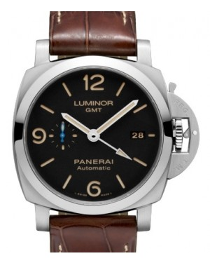 Panerai PAM 1320 Luminor GMT Stainless Steel Black Arabic / Index Dial & Smooth Leather Bracelet 44mm - BRAND NEW