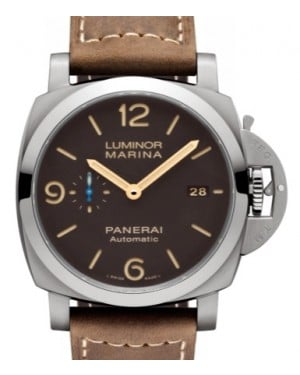 Panerai PAM 1351 Luminor Marina Titanium Brown Arabic / Index Dial & Smooth Leather Bracelet 44mm - BRAND NEW