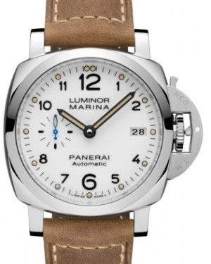 Panerai PAM 1523 Luminor Marina Stainless Steel White Arabic Dial & Smooth Leather Bracelet 42mm - BRAND NEW