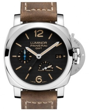 Panerai PAM 1537 Luminor GMT Power Reserve Stainless Steel Black Arabic / Index Dial & Smooth Leather Bracelet 42mm - BRAND NEW