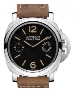 Panerai PAM 590 Luminor 8 Days Stainless Steel Black Arabic / Index Dial & Smooth Leather Bracelet 44mm - BRAND NEW