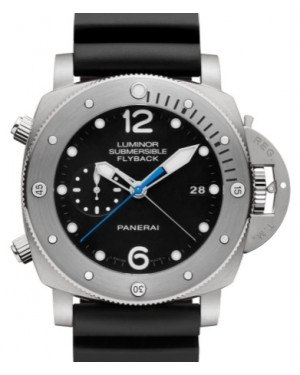 Panerai PAM 614 Submersible Chrono Titanium Black Arabic / Dot Dial & Titanium Rubber Bracelet 47mm - BRAND NEW