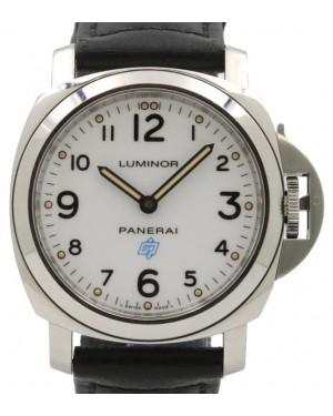 Panerai PAM 630 Luminor Base Logo Stainless Steel White Arabic Dial & Smooth Domed Bezel Leather Strap - PRE-OWNED