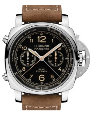 Panerai PAM 653 Luminor Yachts Challenge Stainless Steel Black Arabic Dial & Smooth Leather Bracelet 44mm - BRAND NEW